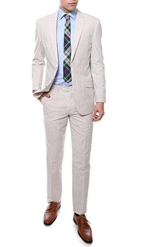 Cotton Seersucker Suit (42L Zonettie Mens Tan Seersucker Cotton 2pc Slim Fit Suit)
