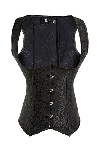 KIWI RATA Women's Steel Boned Vintage Corset Steampunk Gothic Bustier Waist Cincher Vest,Large,Underbust Black