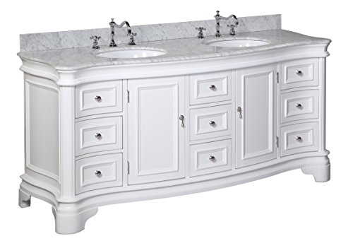Katherine 72-inch Double Vanity (Carrara/White): Includes White Cabinet with Authentic Italian Carrara Marble Countertop and White Ceramic Sinks
