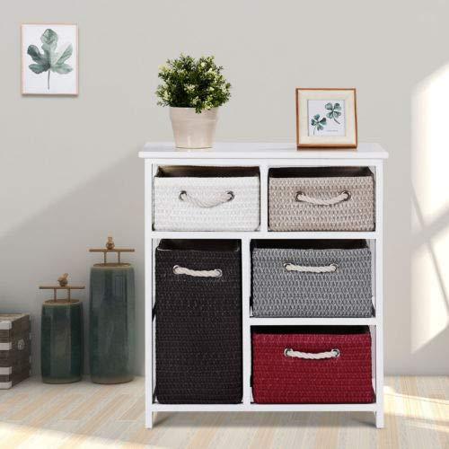 Nightstands Storage Drawer Unit 5 Woven Basket Cabinet Chest Bedside Side Table