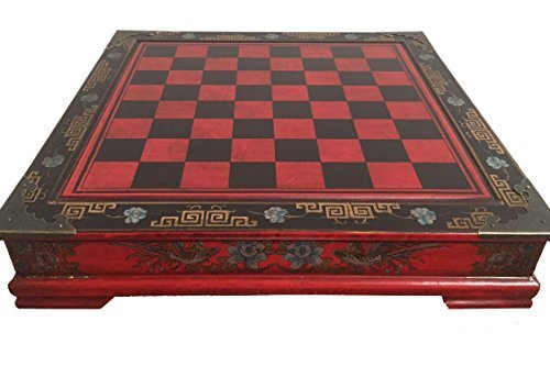 Antique Looking Chinese Chess Set Qin Dynasty. Red & Black with Stowaway (Dynasty Chess Set)