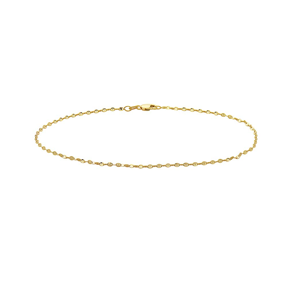Pori Jewelers 14K Solid Gold 1mm Evil Eye Chain Anklet for Women- Made in Italy - Lobster Clasp - 10''