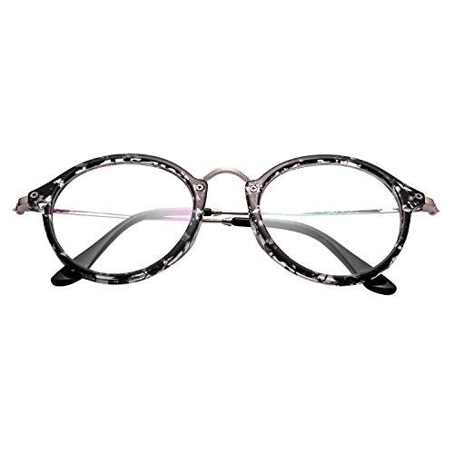 8a3f54d3d5 ... Forepin® Lunettes de Vue Rondes Unisex Cadre Frame Lentille Claire pour  Homme et Femme Vintage