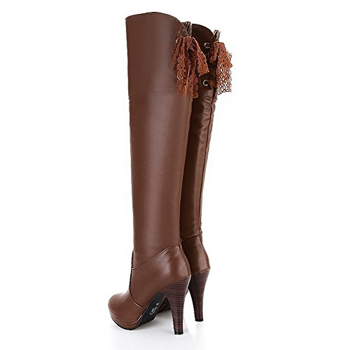 7 Hollow AmoonyFashion US and Boots Solid PU Stiletto PU B Soft High Material with M Womens Out Heels Brown qnrqwBZxHv