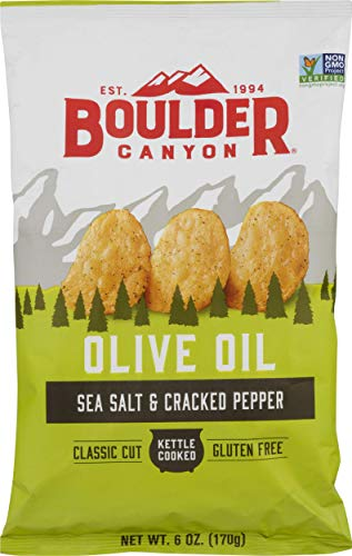 Boulder Canyon Kettle Cooked Potato Chips, Cooked in 100% Olive Oil, NON-GMO Verified, Gluten Free, Sea Salt & Cracked Pepper, 6 Ounce
