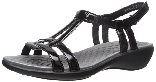 CLARK'S Women's Sonar Aster Sandal, Black Synthetic Patent, 7 Medium US