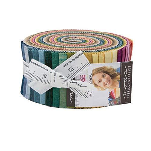 Moda Fabrics Moda Grunge Basics New Jelly Roll 2.5-inch Quilting Strips Fabric Basic Grey 30150JRN4, Assorted