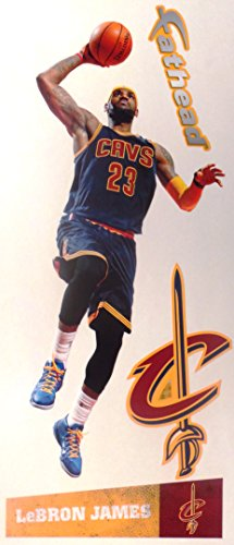 LeBron James Mini FATHEAD Cleveland Cavaliers Logo Dark Blue Jersey Official Vinyl Wall Graphic 10