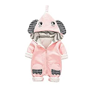 Fairy-Baby Unisex Chidren's Long Sleeve Autumn Romper One Piece Bodysuit with Cute Elephant Style Design Babyboys Cotton Outfit (Color : Pink, Size : 66)