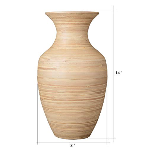 """Villacera Handcrafted 14"""" Tall Natural Glazed Urn Vase for Silk Plants, Flowers, Filler Decor   Sustainable Bamboo"""