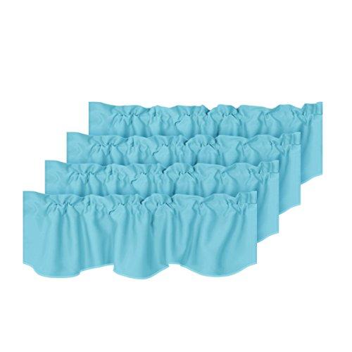 H.VERSAILTEX Energy Saving Solid Window Valances for Living Room Bedroom Rod Pocket Curtain Valances Aqua for Bathroom/Kitchen Windows, 4 Pack, 52 inch x 18 inch ()