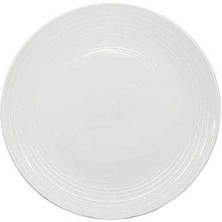 Better Homes and Gardens Round Ribbed Dinner Plates, White,