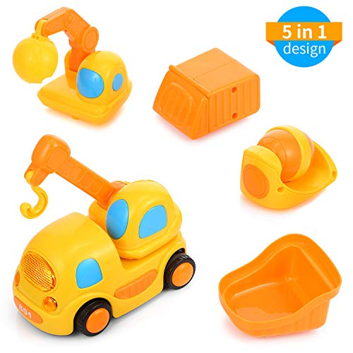 Kidsidol Friction Powered Cars Push and Go Toy Trucks Engineering Construction Vehicles Toys Car Set for 1-3 Year Old Baby Toddlers - Excavator, Crane, Cement Mixer, Dumper, Container Truck