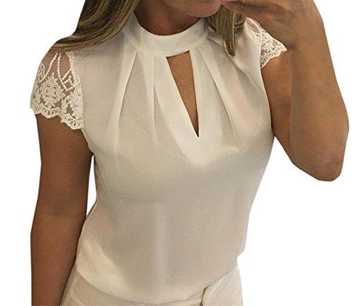 Cime Collo Bluse Corta Tops Camicie Maglietta Bianca Tumblr Pizzo Moda Donne Profondo Sottile Jackenlove Manica Estivo V Iq8xRw44g