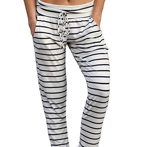 Strisce Donna Dritta Vita Cotone Yoga Pantalone Larghi Pantalone Alta Casual Dragon868 Bianco 0wg5qRpc