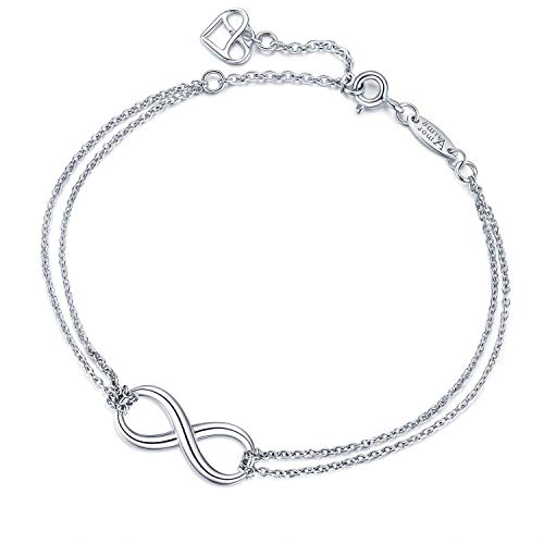 Glamour Business Card - AmorAime Infinity Bracelet for Women 925 Sterling Silver Bracelet Endless Love Charm Adjustable Double Chains Girls Jewelry Gift for Birthday Graduation