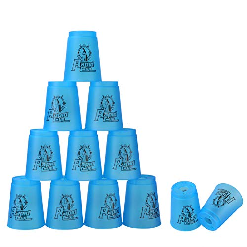 (Quick Stacks Cups, 12 PC Of Sports Stacking Cups Speed Training Game(Blue))