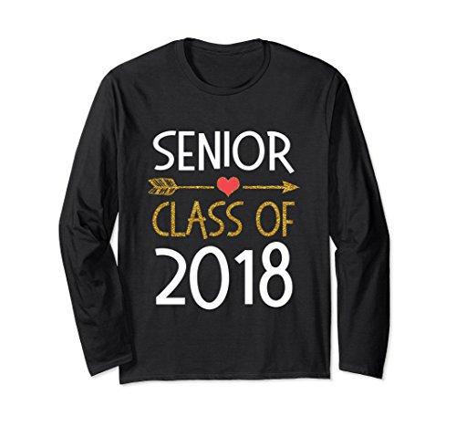 Unisex Cute Senior Class of 2018 with Arrow Long Sleeve Shirt Women Medium Black