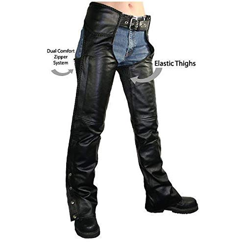 Xelement B7556 Women's Black Braided Zippered Leather Chaps - 20