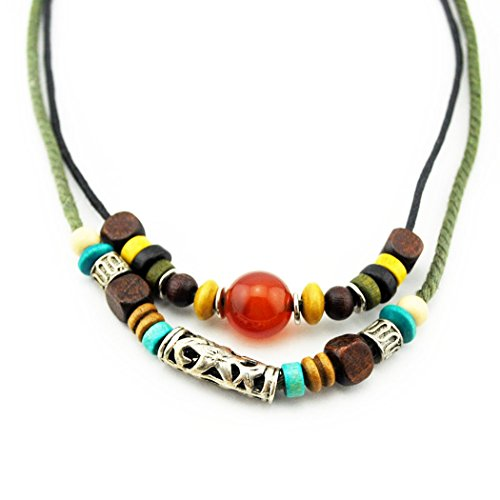 MORE FUN Tribal Style Handmade Alloy Pendant Clear Red beads Double Layers Rope Necklaces