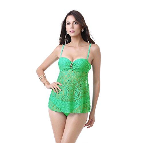 ZOYOL-YT Traje de baño de la falda de la tela neta Traje de baño atractivo de la perspectiva de la playa del vestido de la falda de la playa Green