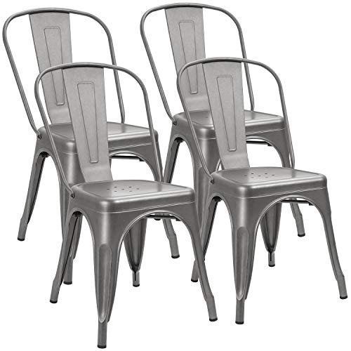 Furniwell Metal Dining Chairs Indoor-Outdoor Use Stackable Kitchen Chair Trattoria Side Chic Dining Bistro Cafe Chairs with Back Set of 4 (Grey)