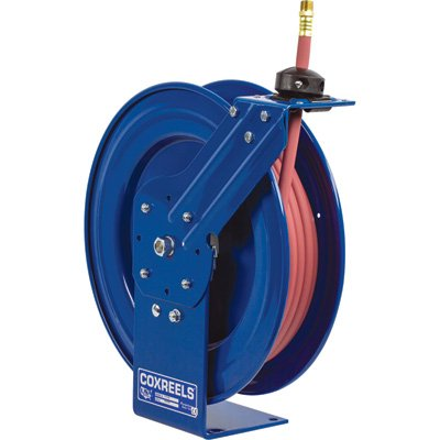- Coxreels Performance Series Compact Hose Reel - 7in. x 18 1/4in. x 17 1/4in., 1/2in. x 30Ft. Hose for Oil, Model# P-MP-430