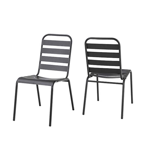 "MF 7 Piece Patio Table and Chairs Metal Outdoor Patio Dining Table Sets with 59"" x 35"" Rectangle Table and 6 Backyard Garden Dining Chairs, Black - Table Size: 59""L x 35""W x 28""H; Slat Chair size: 25.2""D x 22.8""W x 35""H , seat height: 18"", Weight capacity: 300LBS. Outdoor dining table set including 1 black metal rectangle bistro table & 4 backyard chairs. Spacious chair and table comfortable for six or more person family dinner and party. Sturdy wrought iron frame longevity with e-coating needs no special maintenance, rust and weather resistant, bring you years of enjoyment on patio, balcony, or other outdoor area. - patio-furniture, dining-sets-patio-funiture, patio - 41JapFcEfiL. SS570  -"