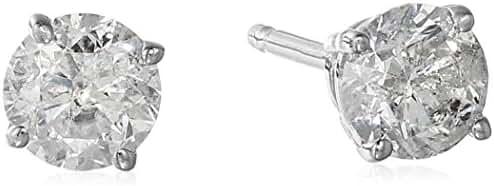 14k Round Diamond Gold Stud Earrings