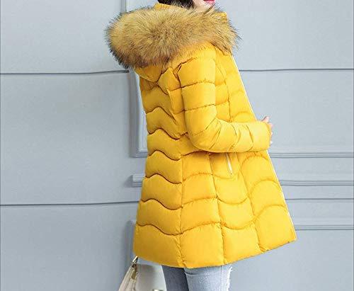 sintetica sottile Giacca Accogliente Moda cappuccio selvaggia Tight lunga spessa Cappotto Cappotto per calda Super calda qualità da Inverno con Pelliccia donna Gelb qx7Z8I