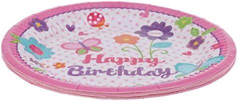 10ピース ラブリー ハッピーバースデー ケーキプレート 使い捨て パーティー食器 可愛い ピンク