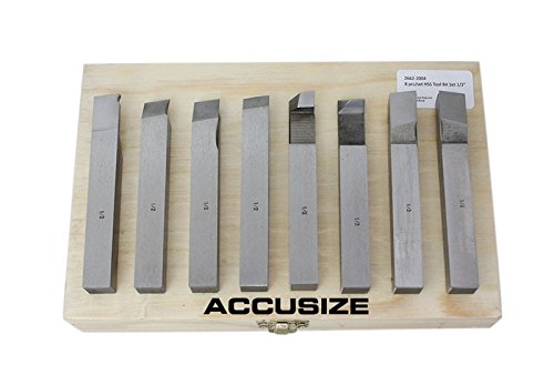 AccusizeTools - 1/2 inch 8 pcs H.S.S. Tool Bit Set, Pre-Ground for Turning & Facing Work, for Aluminum.Steel, Brass, Plastic & Wood, 2662-2004 (Lathe Steel)