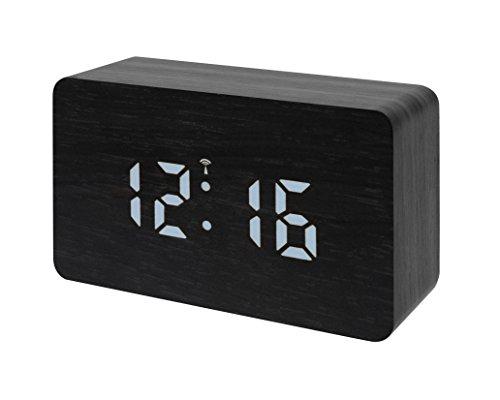 Bresser 8020400CM3WHI MyTime W Funk Wecker mit LED Display schwarz/weiß