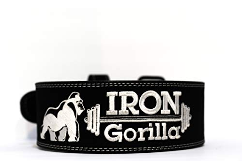 Iron Gorilla Weight Lifting Belt Powerlifting Belt 10mm Thick 4 Inches Wide Double Prong 100 Cowhide Leather Provides Excellent Durability and Comfortability Great for Heavy Powerlifting