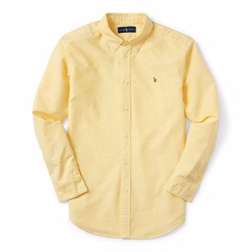 Polo Ralph Lauren Men's Long Sleeve Oxford Button Down Shirt (Medium, Yellow)