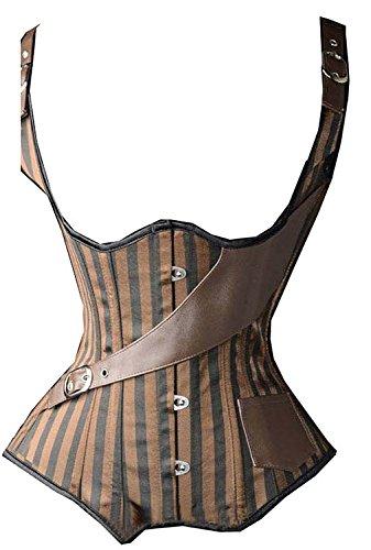 KIWI RATA Women's Steel Boned Vintage Corset Steampunk Gothic Bustier Waist Cincher Vest,Medium,Stripe Underbust Brown