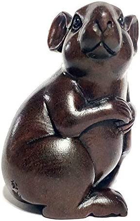Y6746-20 Years Old 2.5 Hand Carved Netsuke Carving Figurine – Lovely Mouse