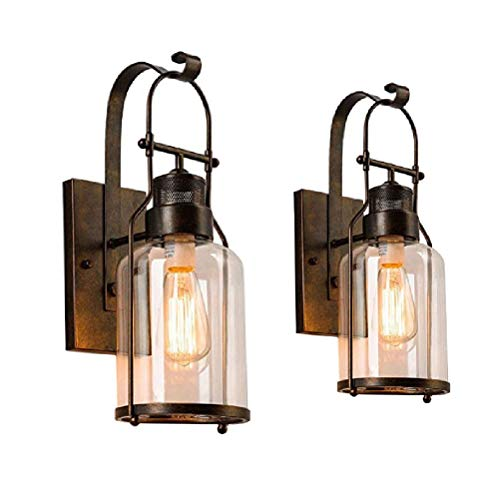 Vintage Glass Wall Lamp,Wall Lantern Retro Bronze ()