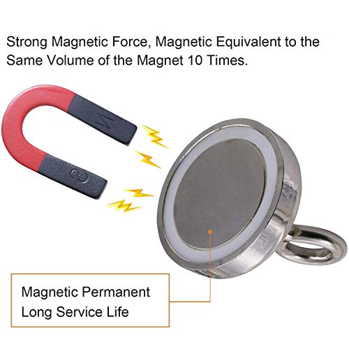 MQUPIN Magnetic Hooks Neodymium Recovery Hold Strong Heavy Duty Super Powerful Magnet Hanger with Eyebolt, 150LBS/68KG, D1.65 inch(42 mm) for Sea Salvage Diving Lake Fishing (392lbs Magnetic Hooks) by MQUPIN (Image #4)