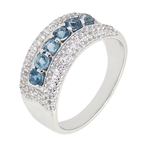Sterling Silver Genuine London Blue Topaz & White Topaz Band Dome Ring (3 CT.T.W) (Topaz Dome Ring White)