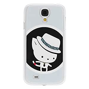 LIMME-White Kitten with Little Hat Pattern Hard Case with Rhinestone for Samsung Galaxy S4 I9500