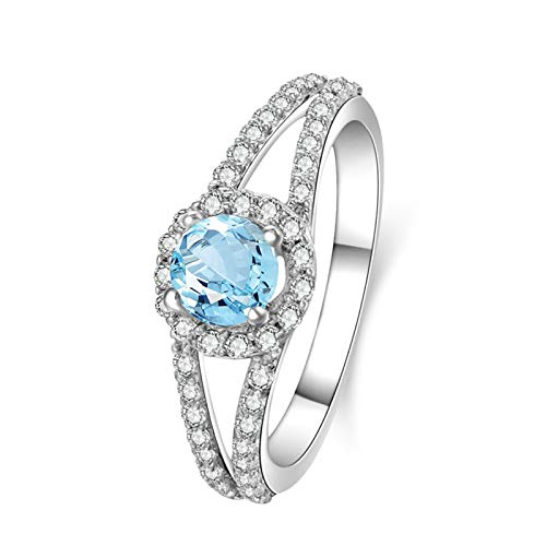 EoCot Custom Size Silver Plated Ring for Women Round Blue Topaz White Gold Circle Round Wedding Anniversary Promise Ring Size 9