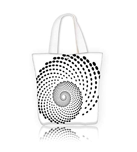 Canvas Beach Bags Spiral shape dotted monochrome motif Totes for Women Zippered Beach Shoulder Bag W17.7xH14xD7 INCH