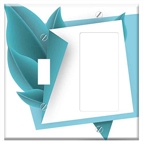 (1-Toggle 1-Rocker/GFCI Combination Wall Plate Cover - Banner Vector Web Design Leaf Memo Pad Nature)