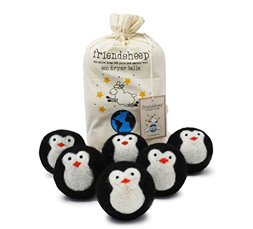 Friendsheep Organic Eco Wool Dryer Balls - Black Penguin - Handmade, Fair Trade, No Lint - Cool Friends Pack of 6 (Egg Shaped Porcupine Balls)