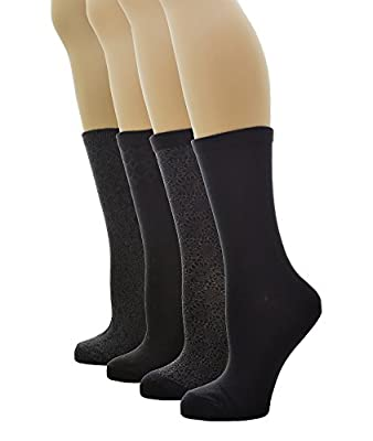PEDS Women's Classic Solid Black and Black Patterned Crew Socks 4 Pairs