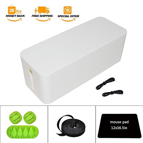(White Cable Management Box Organizer - 5.25 x 6.2 x 16in,Large (Storage for Desk, TV, Computer, USB Hub) System to Cover and Hide, Power Strips, Surge Protector, Cords + Wire Ties (White) )