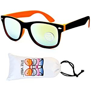 Kd04-vp Kids Child (2-10yr Old) Wayfarer 80s Sunglasses (S3239V Black/Orange-Lime Mirror, smoked)