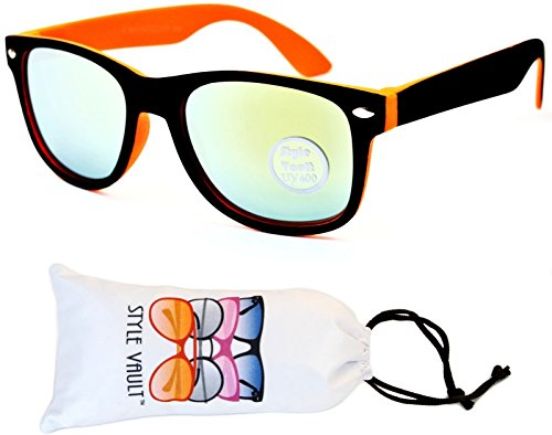 Kd04-vp Kids Child (2-10yr Old) Wayfarer 80s Sunglasses (S3239V Black/Orange-Lime Mirror, smoked)