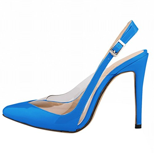Wotefusi Transparent Toe Strap High Women Blue Ankle Stilettos Shoes Heels Splicing Close Summer Sandals XXwEcqHr